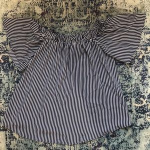 Navy and White Stripe Off the Shoulder Top